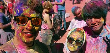 The Holi Festival of Colors draws students to Victoria Park.